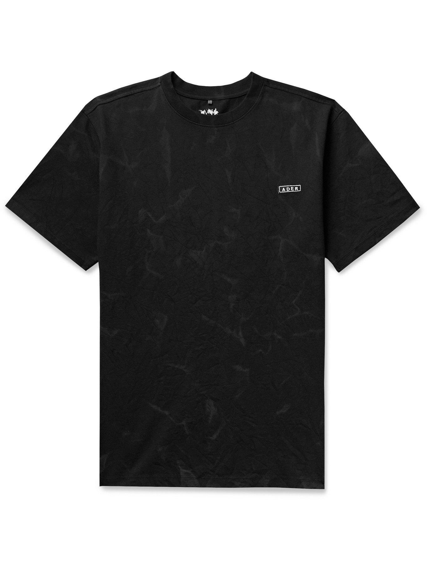 Photo: Ader Error - Logo-Embroidered Printed Cotton-Blend Jersey T-Shirt - Black - 1