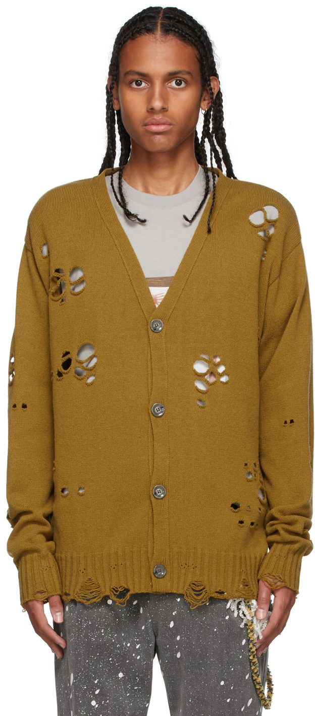 Photo: Song for the Mute Yellow Oversized Distressed Cardigan