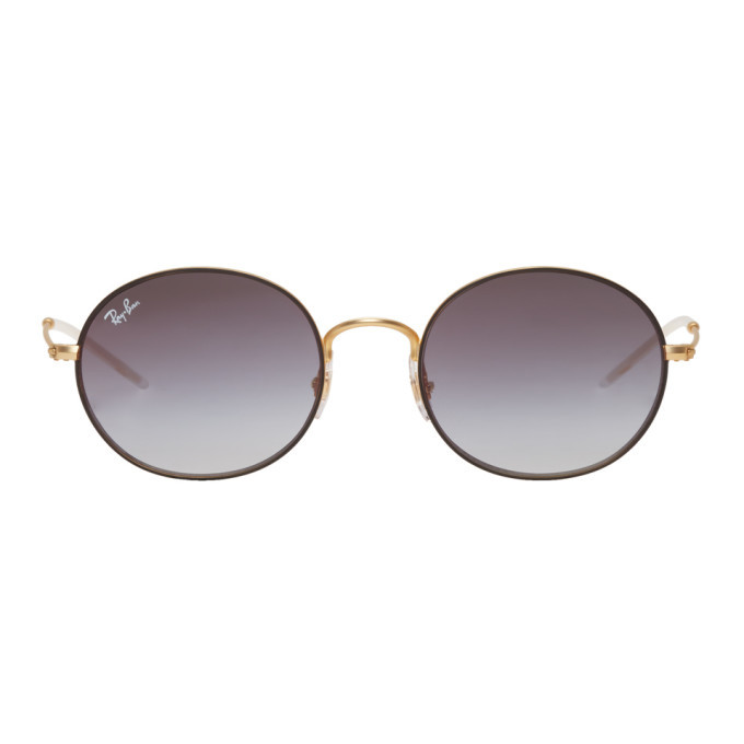 Photo: Ray-Ban Gold and Grey Metal Round Sunglasses