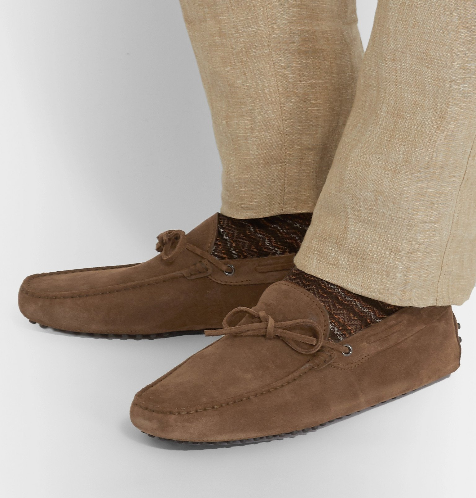 Tod's - Gommino Suede Driving Shoes - Brown
