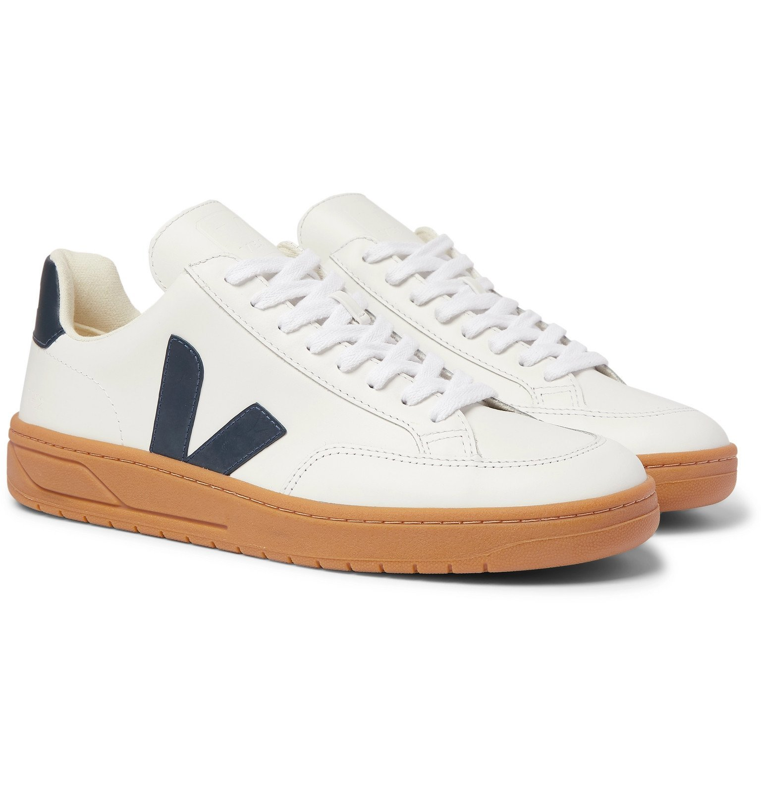 Photo: Veja - V-12 Rubber-Trimmed Leather Sneakers - White