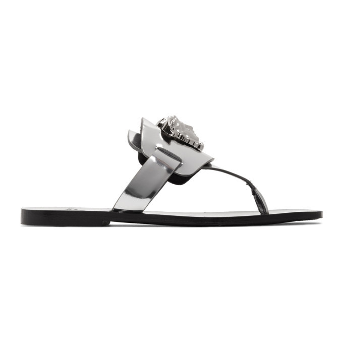 Photo: Versace Silver Palazzo Flat Thong Sandals