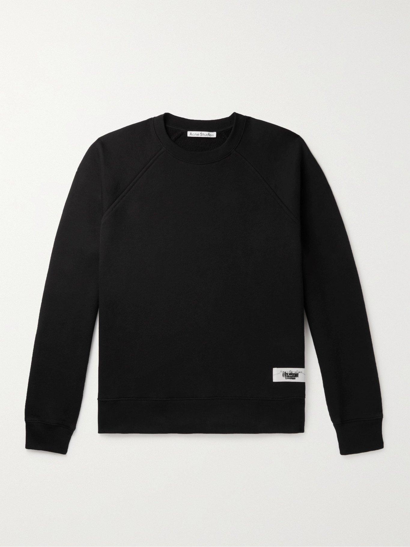 Photo: ACNE STUDIOS - Logo-Appliquéd Cotton-Blend Jersey Sweatshirt - Black