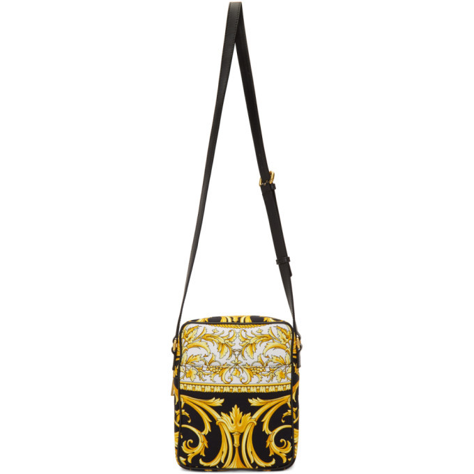 Versace Black and Gold Barocco Crossbody Bag