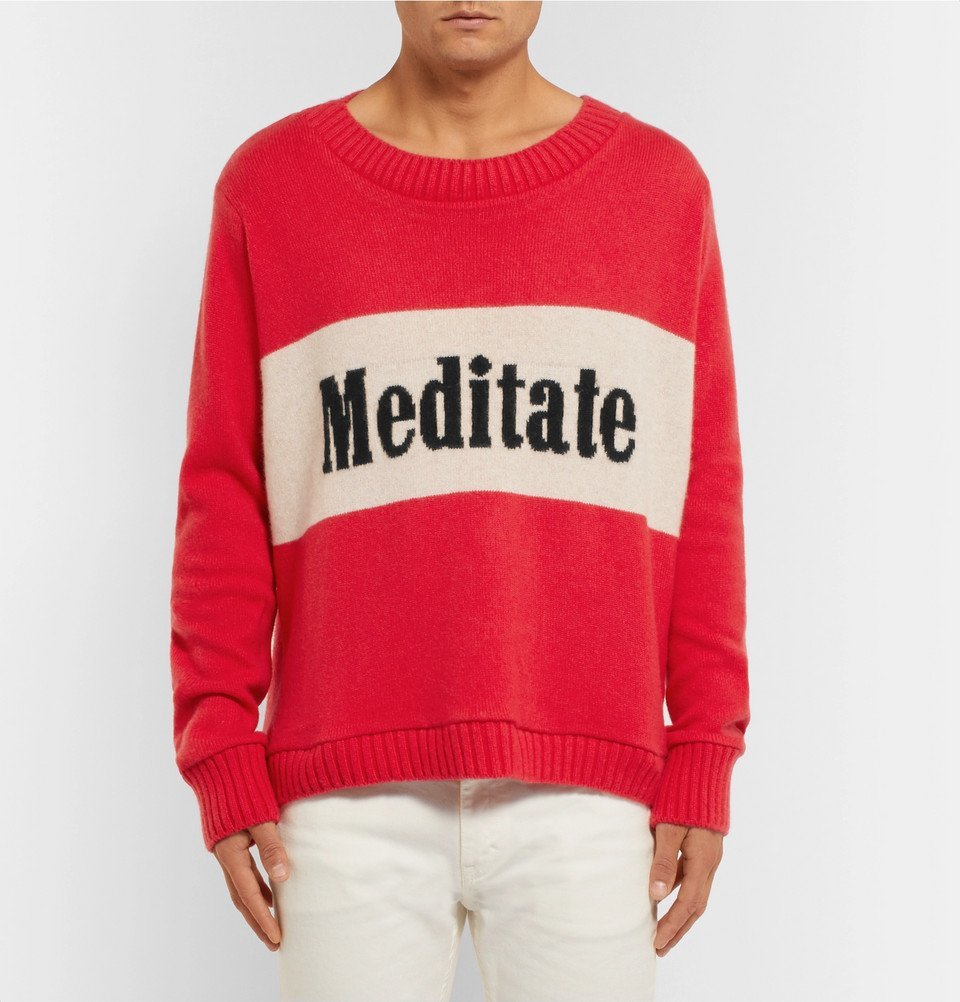 The Elder Statesman - Meditate Intarsia Cashmere Sweater - Red