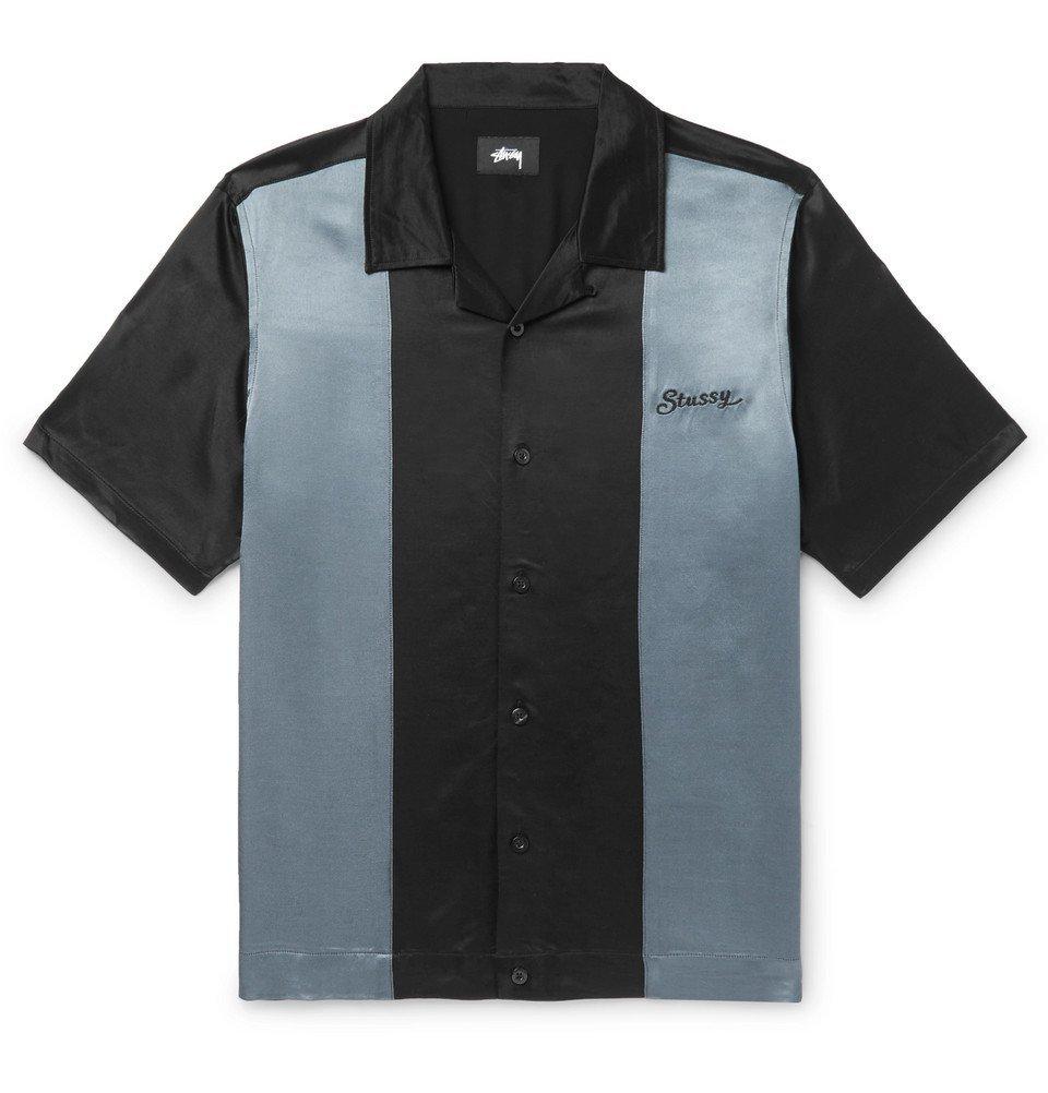 Photo: Stüssy - Camp-Collar Two-Tone Satin Shirt - Black