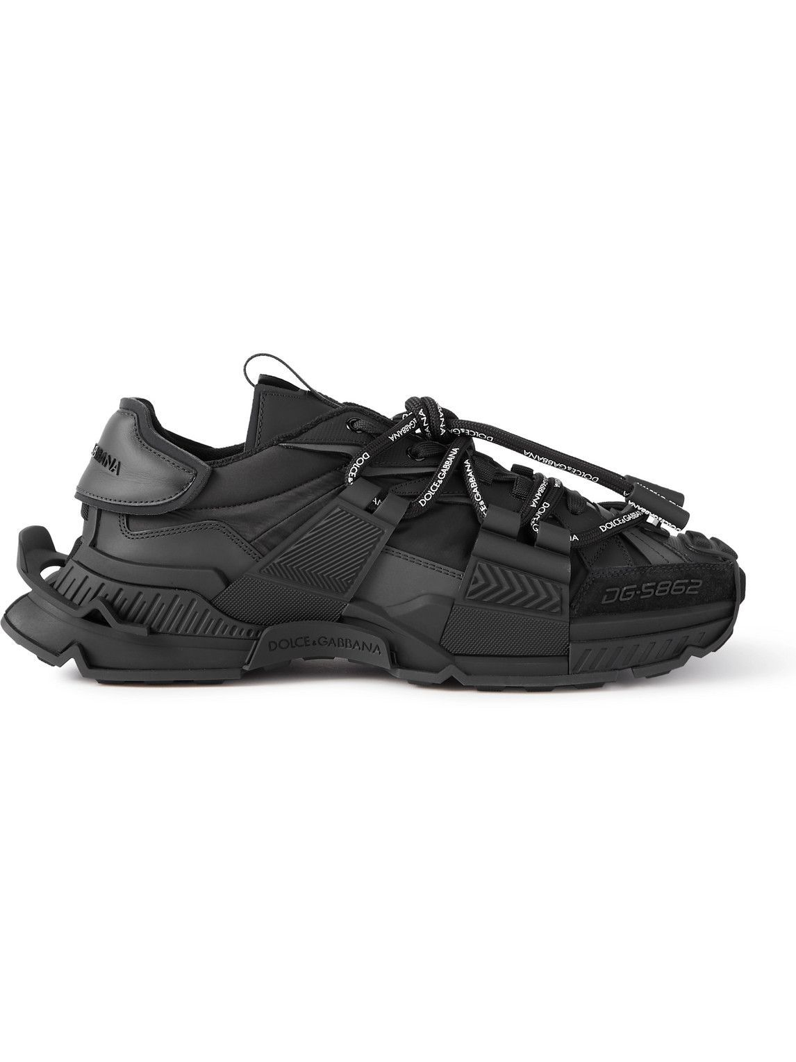 Photo: Dolce & Gabbana - Space Leather- and Suede-Trimmed Rubber and Shell Sneakers - Black