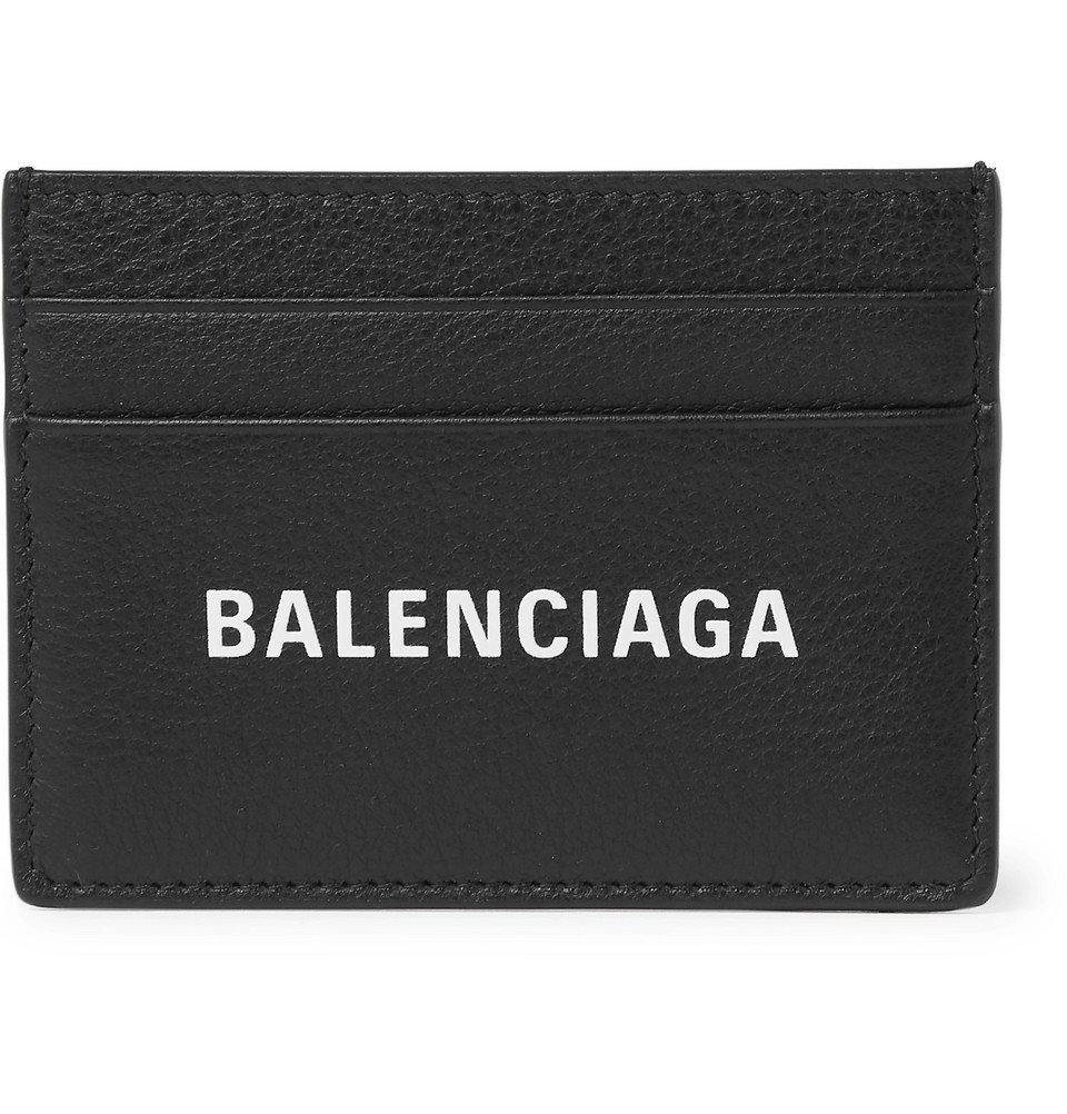 Photo: Balenciaga - Everyday Logo-Print Full-Grain Leather Cardholder - Black