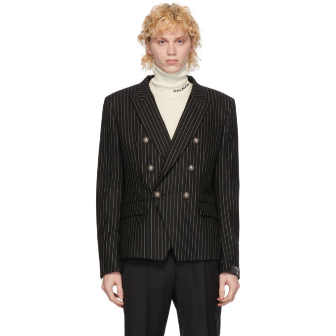 Photo: Balmain Black and White Wool Striped Double-Breasted Blazer