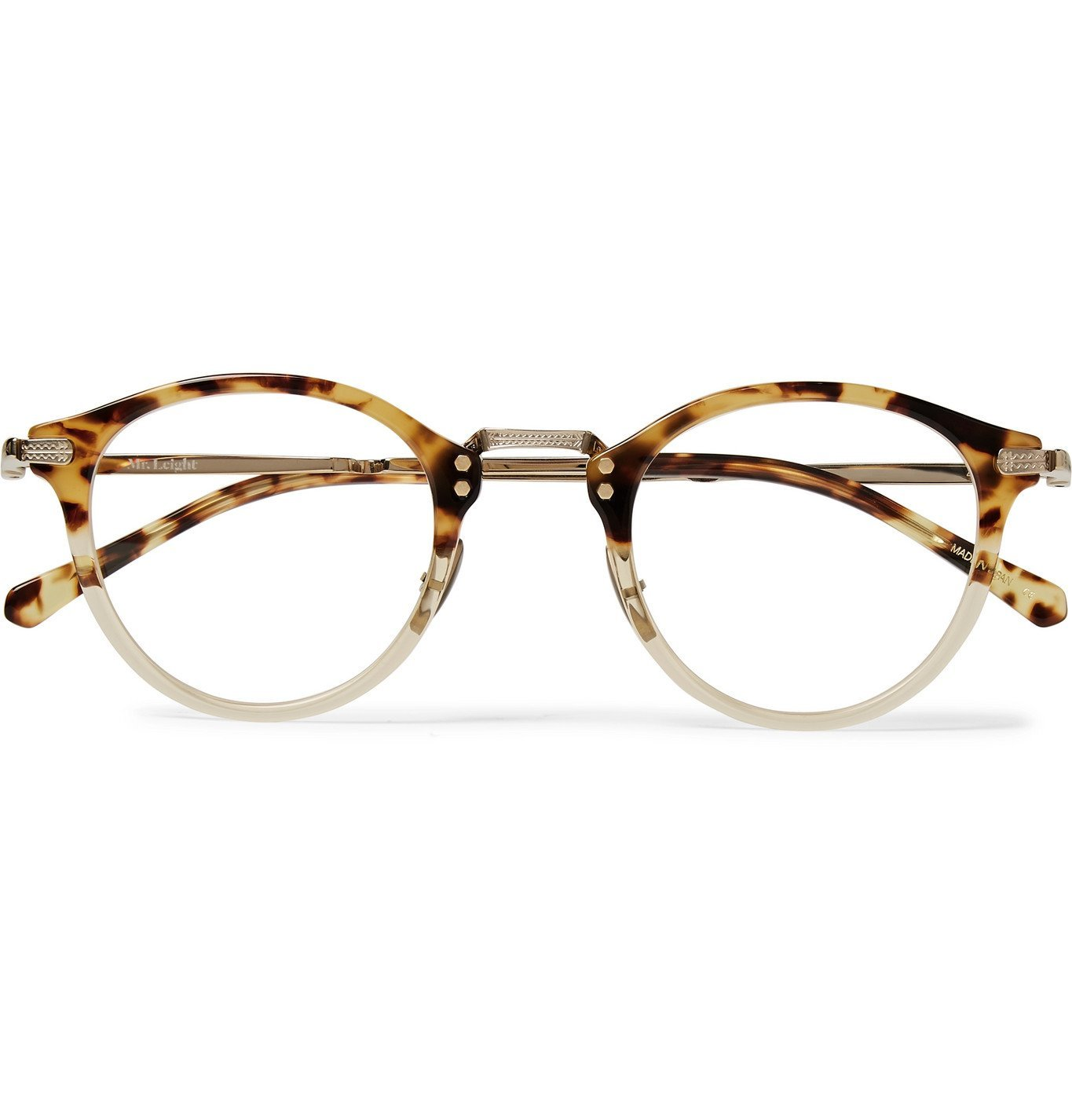 Photo: Mr Leight - Stanley C Round-Frame Tortoiseshell Acetate and Gold-Tone Titanium Optical Glasses - Tortoiseshell