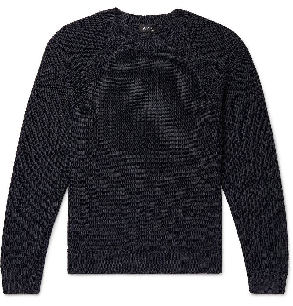 Photo: A.P.C. - Slim-Fit Knitted Sweater - Navy