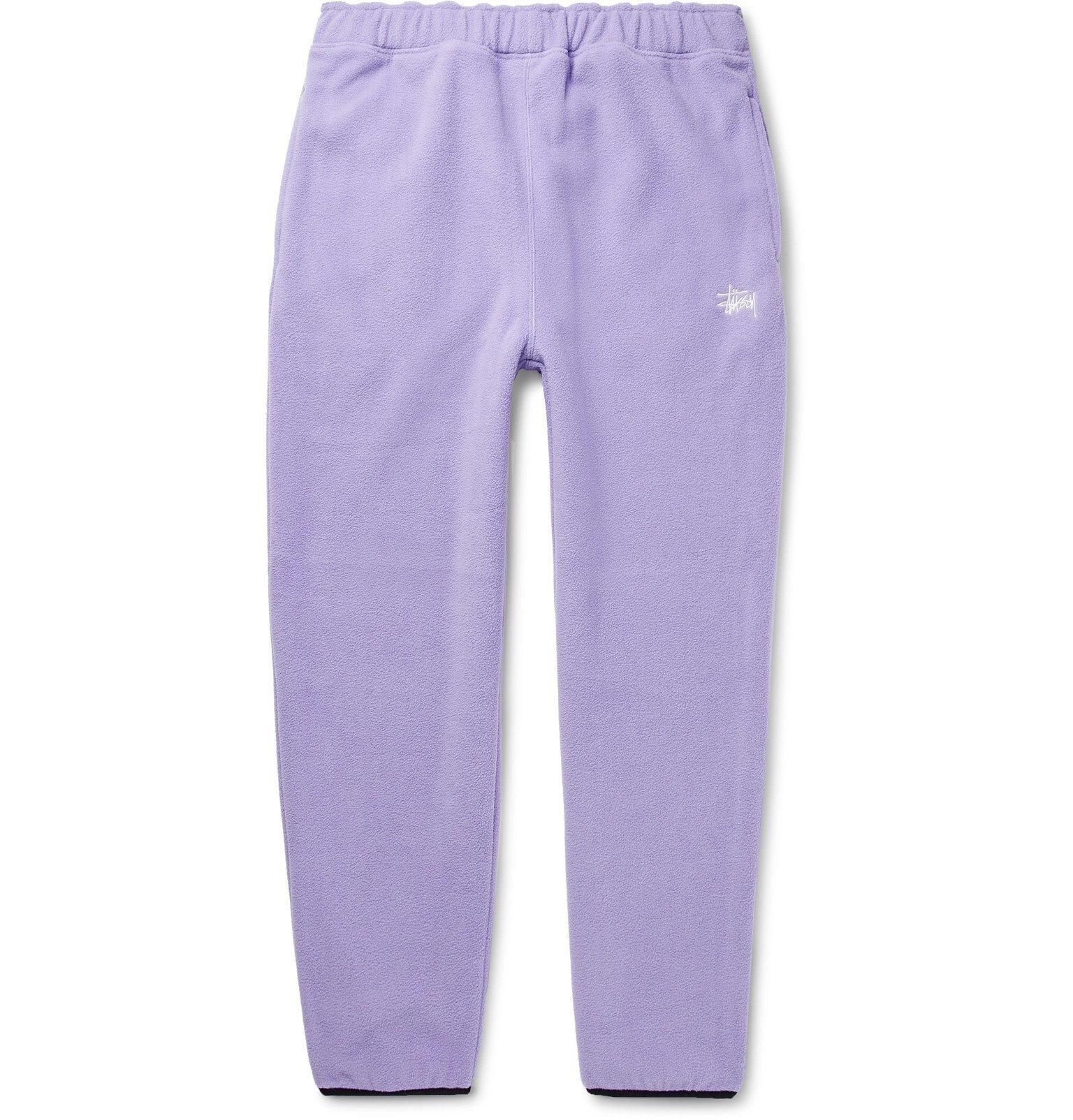 Photo: Stüssy - Logo-Embroidered Fleece Sweatpants - Purple