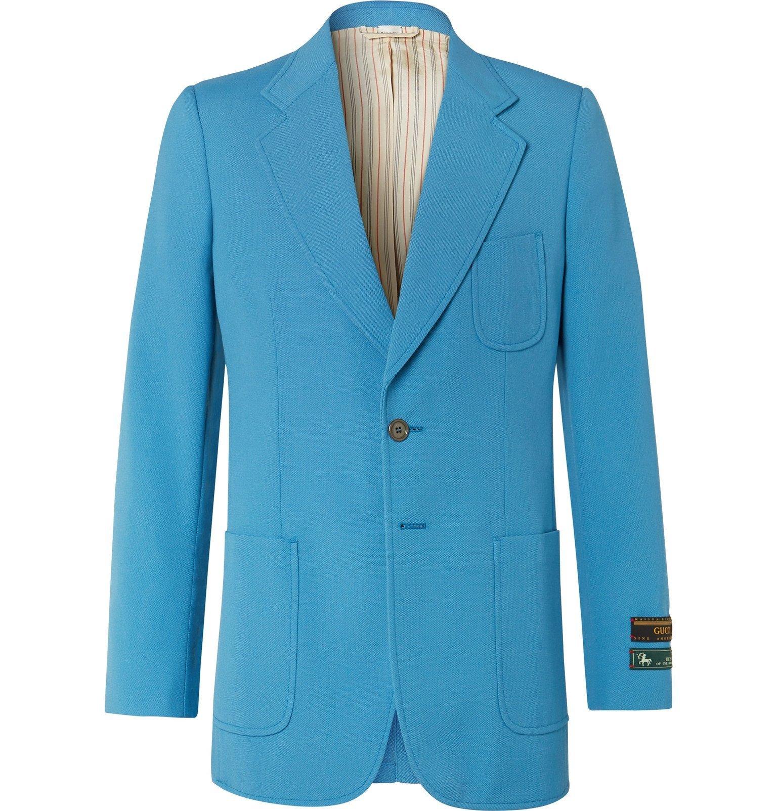Photo: Gucci - Blue Wool-Blend Canvas Blazer - Blue