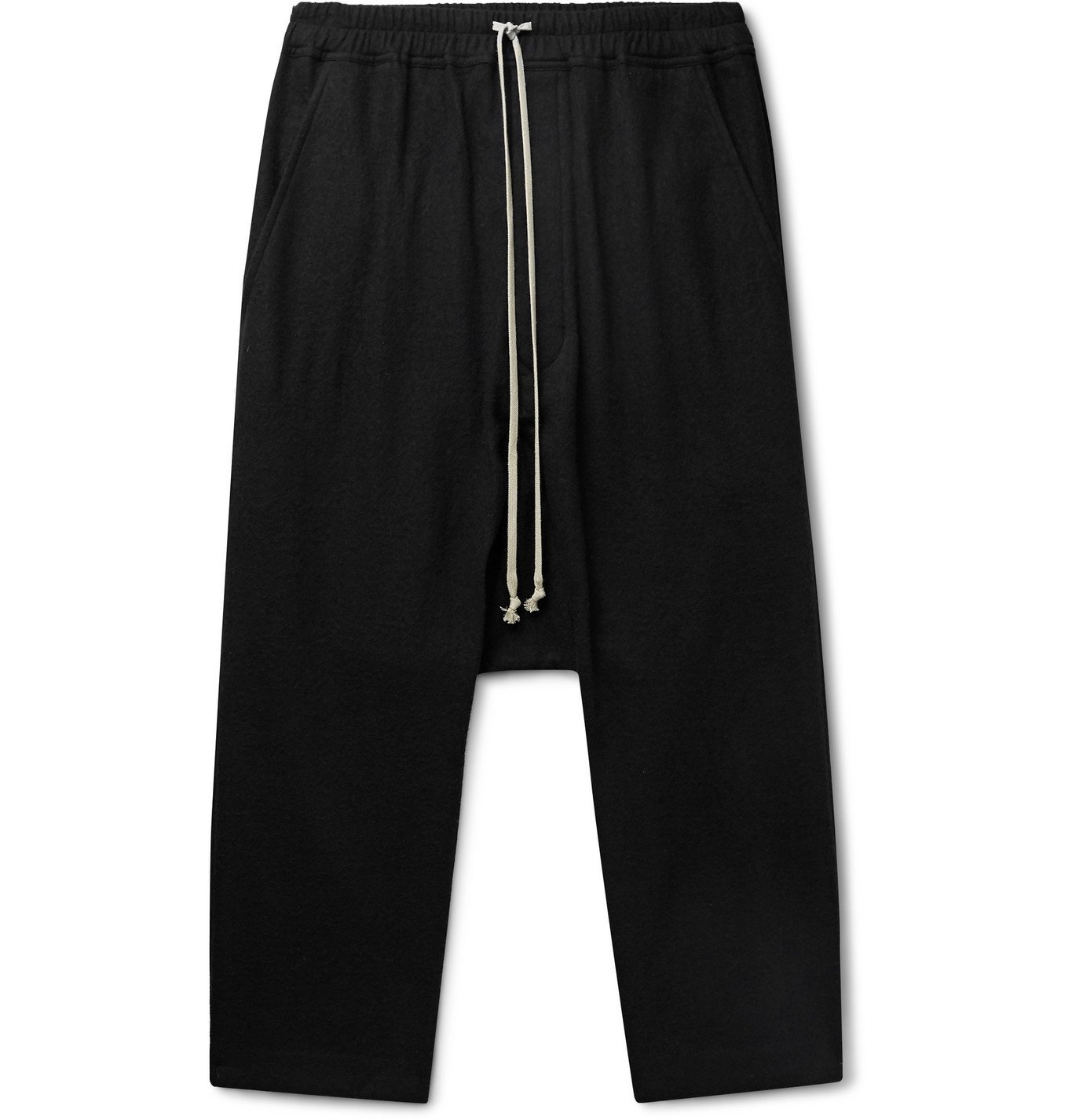 Photo: Rick Owens - Cotton and Wool-Blend Flannel Drawstring Trousers - Black