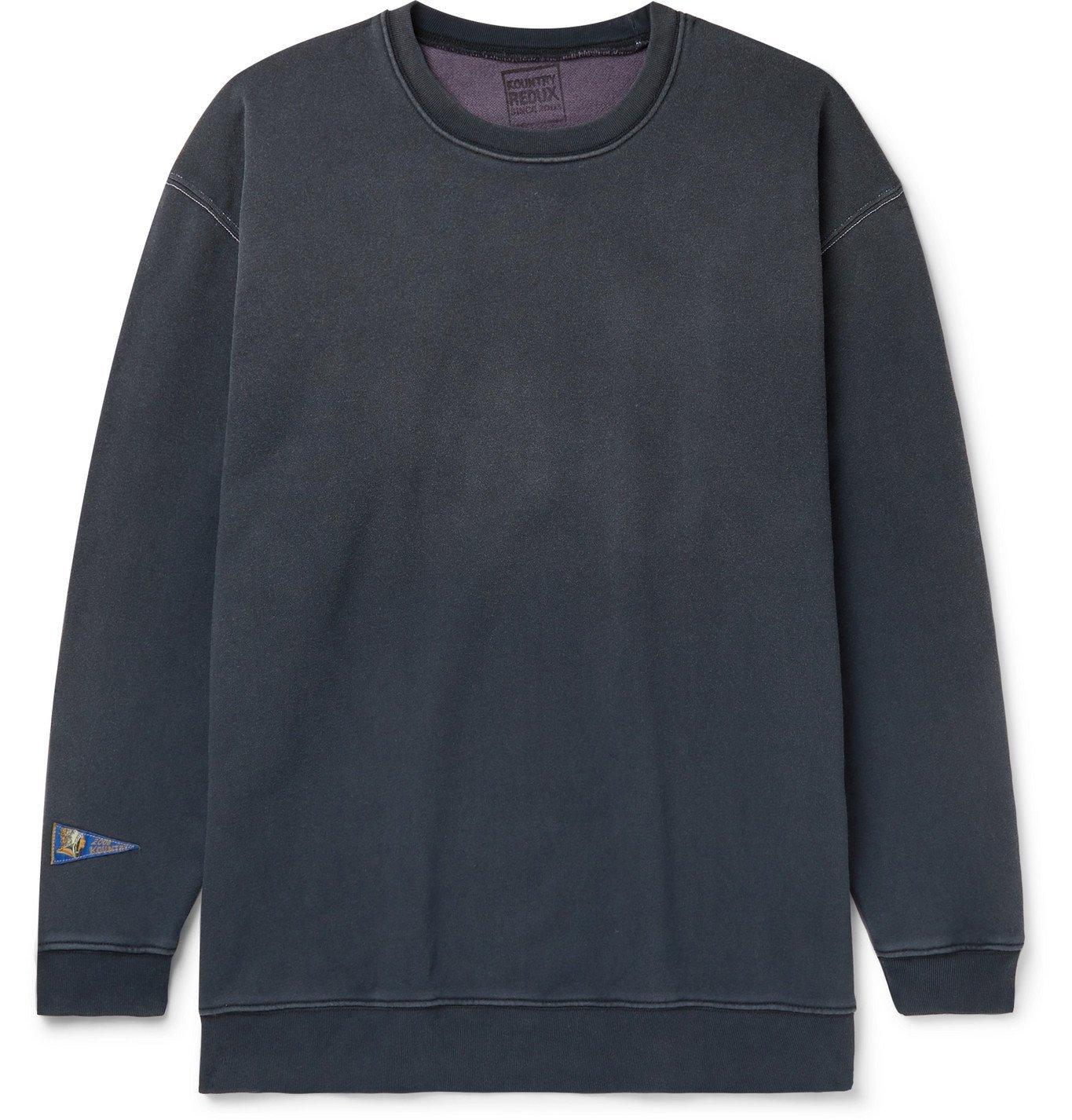 KAPITAL - Printed Loopback Cotton-Jersey Sweatshirt - Black
