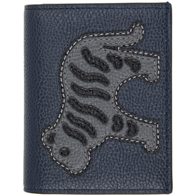 Photo: Thom Browne Navy Animal Icon Double Card Holder