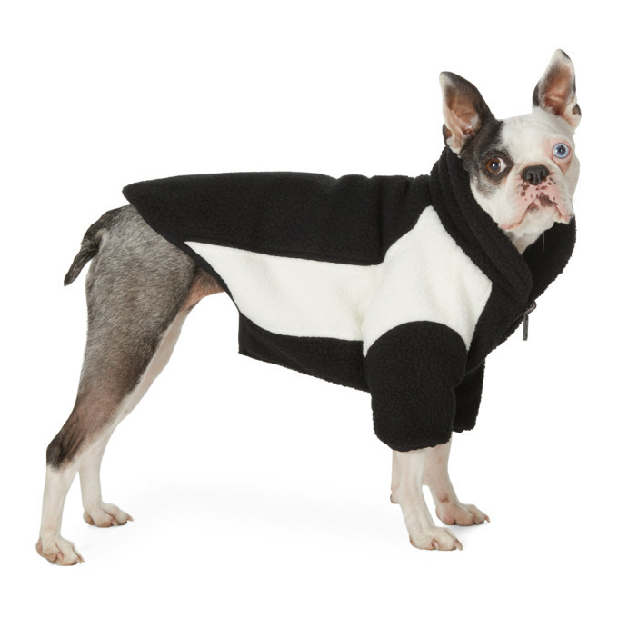 Photo: We11done SSENSE Exclusive Reversible Black and Off-White Oversized Fleece Dog Jacket
