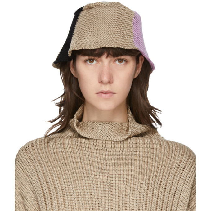 Photo: Eckhaus Latta Beige and Pink Horizon Bucket Hat