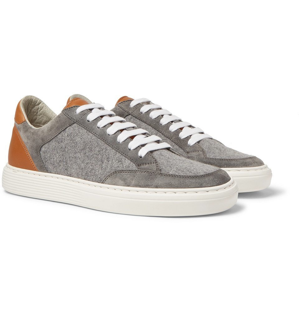 Photo: Brunello Cucinelli - Leather, Suede and Flannel Sneakers - Light gray