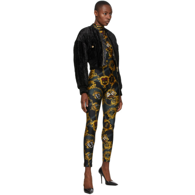 Versace Jeans Couture Black Crushed Velvet Bomber Jacket