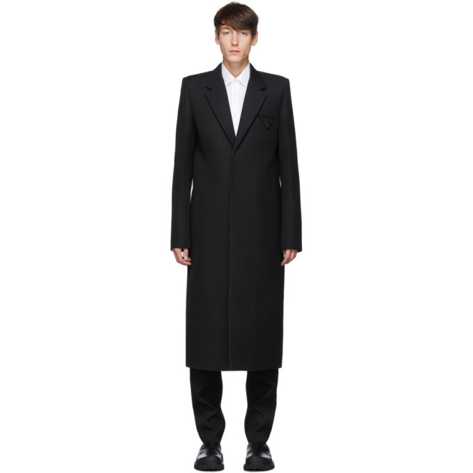 Photo: Bottega Veneta Black Compact Wool Coat