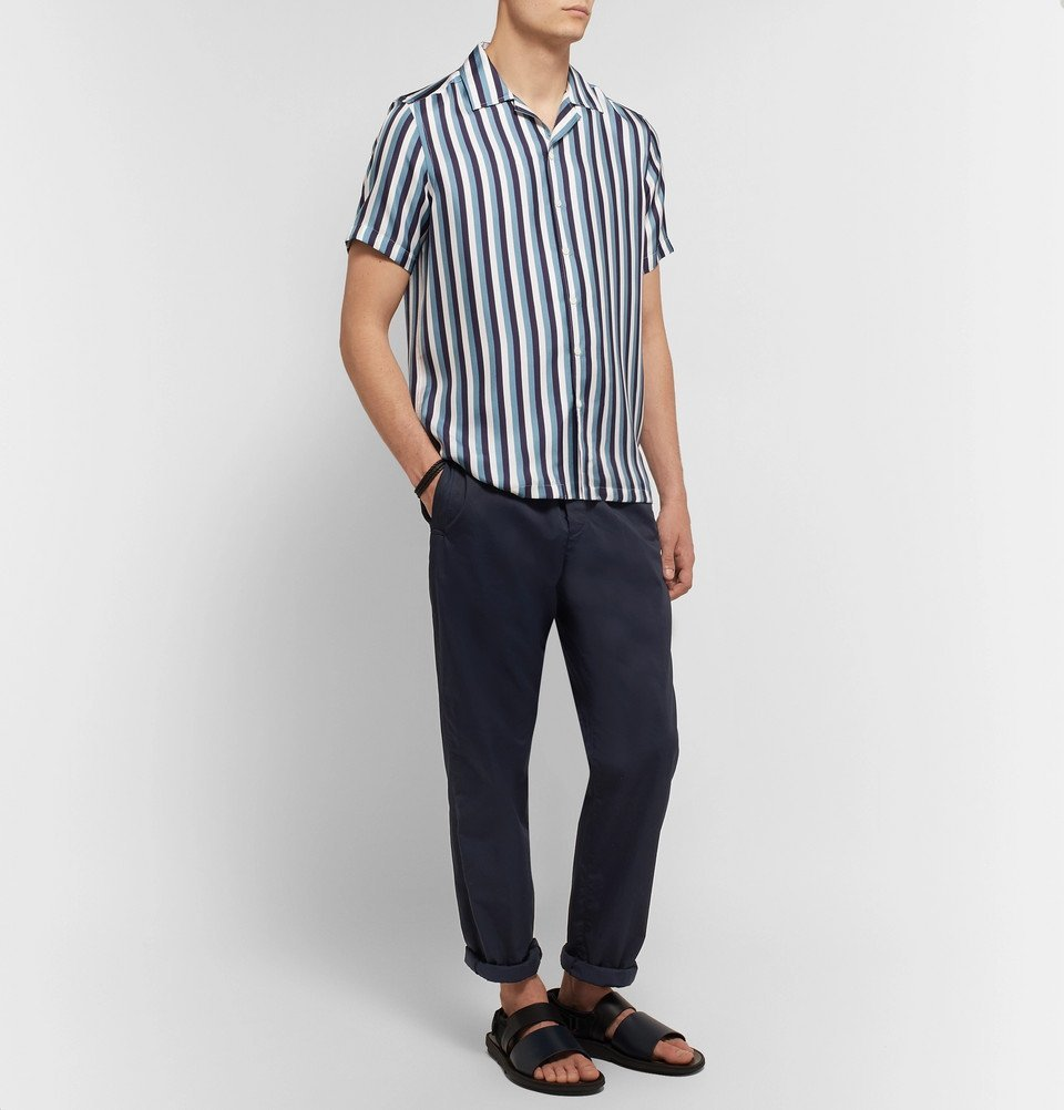 Tod's - Camp-Collar Striped Silk-Twill Shirt - Men - Navy