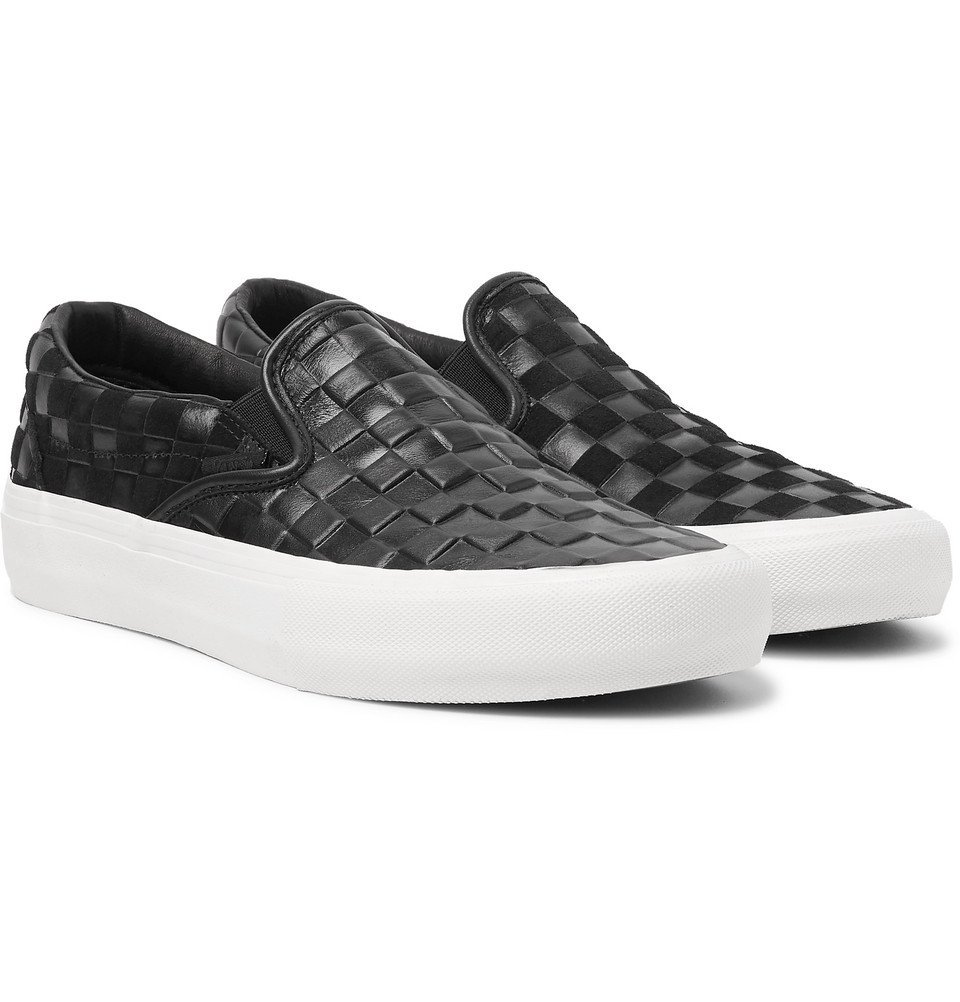 Photo: Vans - Engineered Garments OG Classic LX Checkerboard Leather and Suede Slip-On Sneakers - Black