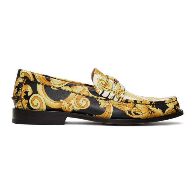 Photo: Versace Black and White Hibiscus Loafers