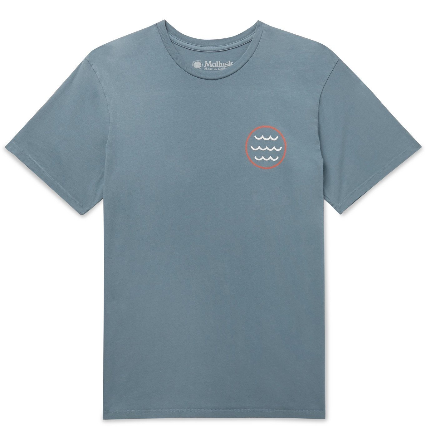 Photo: Mollusk - Harvest Moon Printed Garment-Dyed Cotton-Jersey T-Shirt - Blue