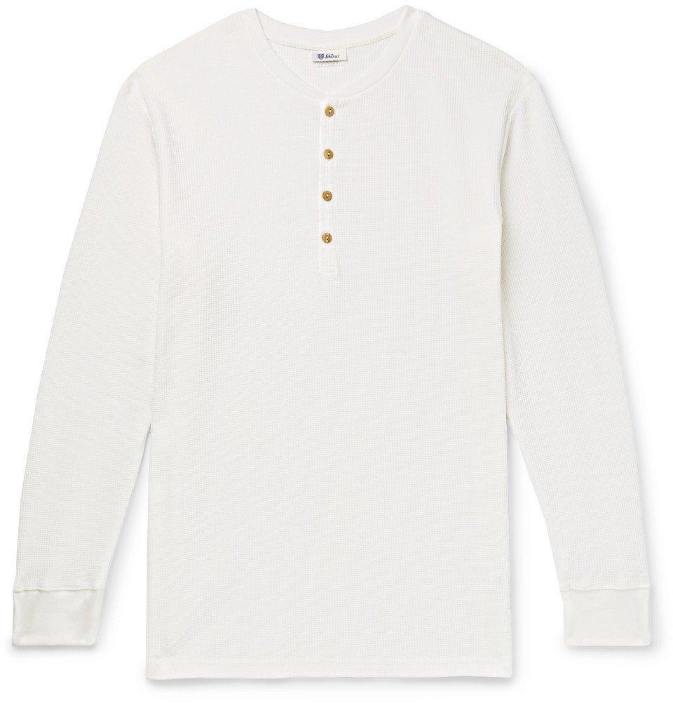 Photo: Schiesser - Ernst Waffle-Knit Cotton Henley T-Shirt - White