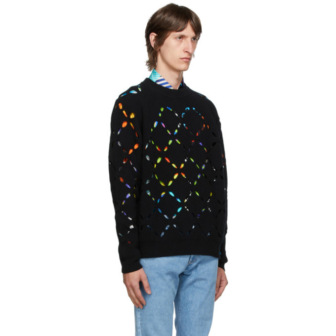 Versace Black Wool Cut Out Sweater