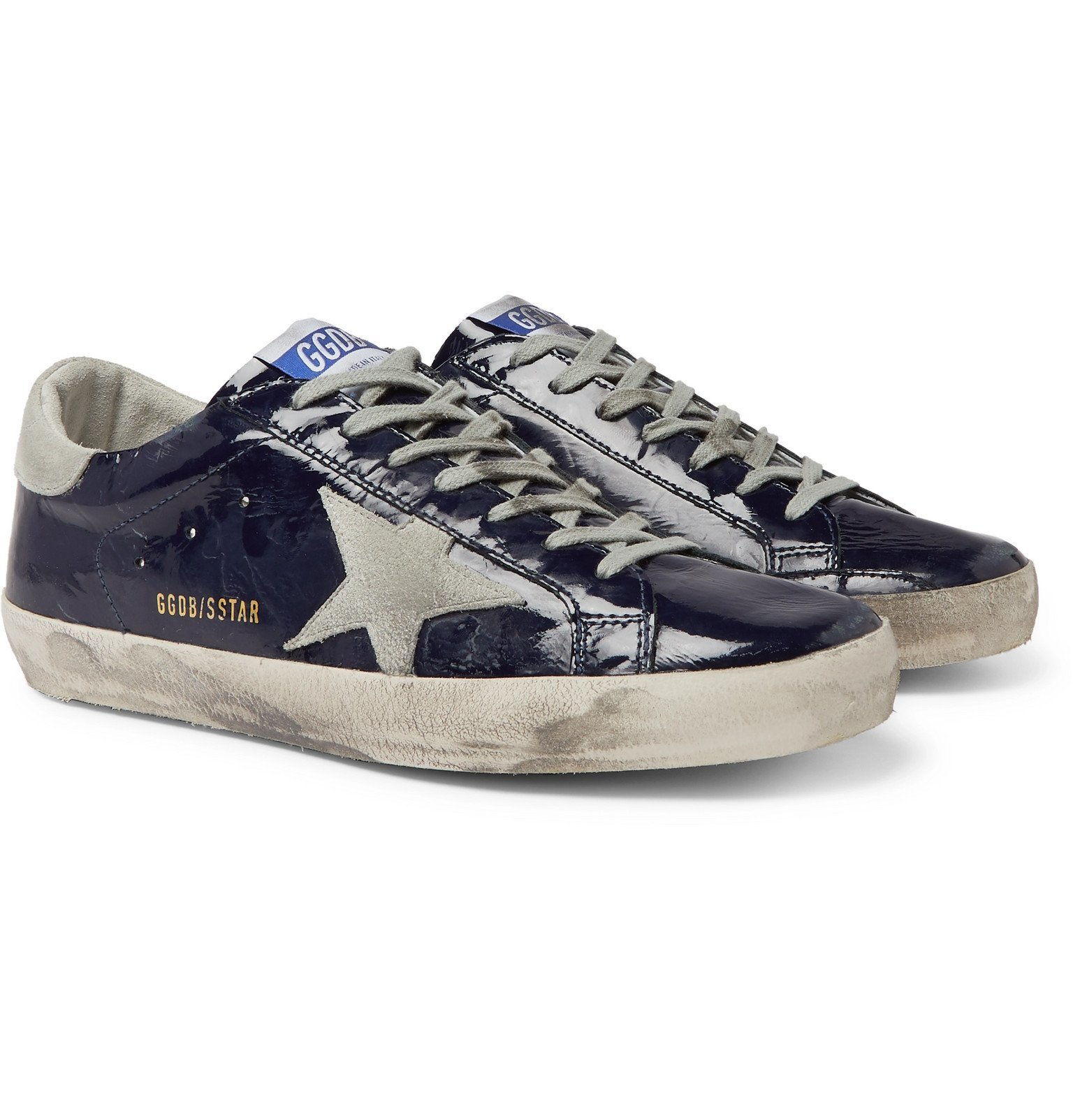 Photo: Golden Goose - Superstar Distressed Patent-Leather and Suede Sneakers - Blue