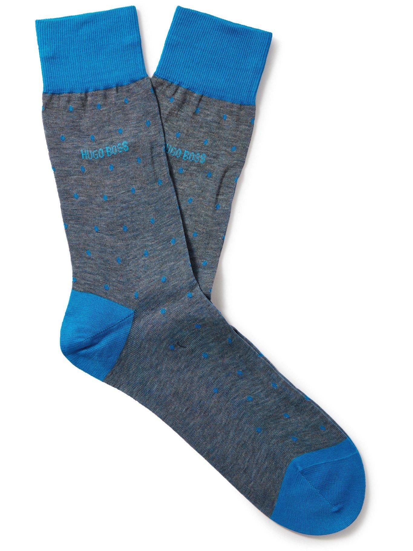 Photo: HUGO BOSS - Polka-Dot Mercerised Cotton Socks - Blue - EU 41-42