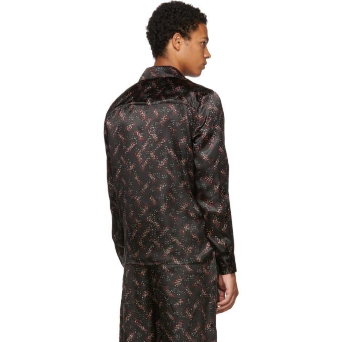 Bottega Veneta Black Pixel Pattern Pyjama Shirt