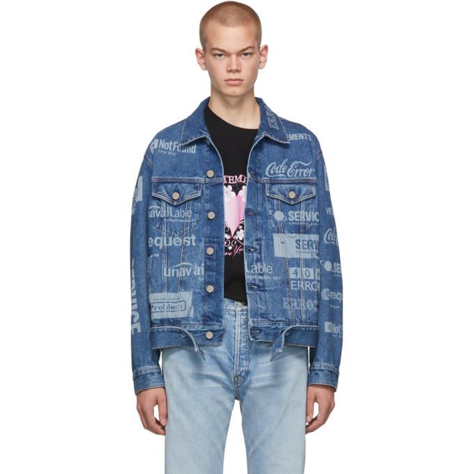 Photo: VETEMENTS Blue Fully Branded Denim Jacket