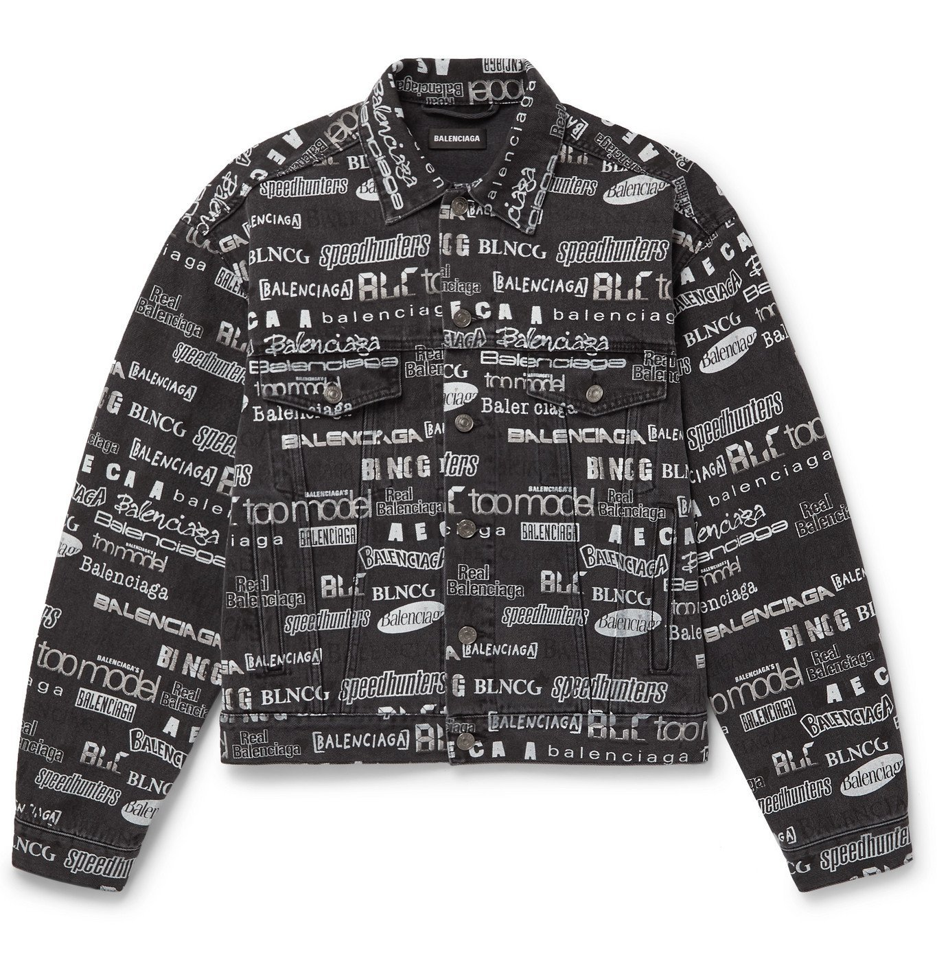 Photo: Balenciaga - Logo-Print Denim Jacket - Black