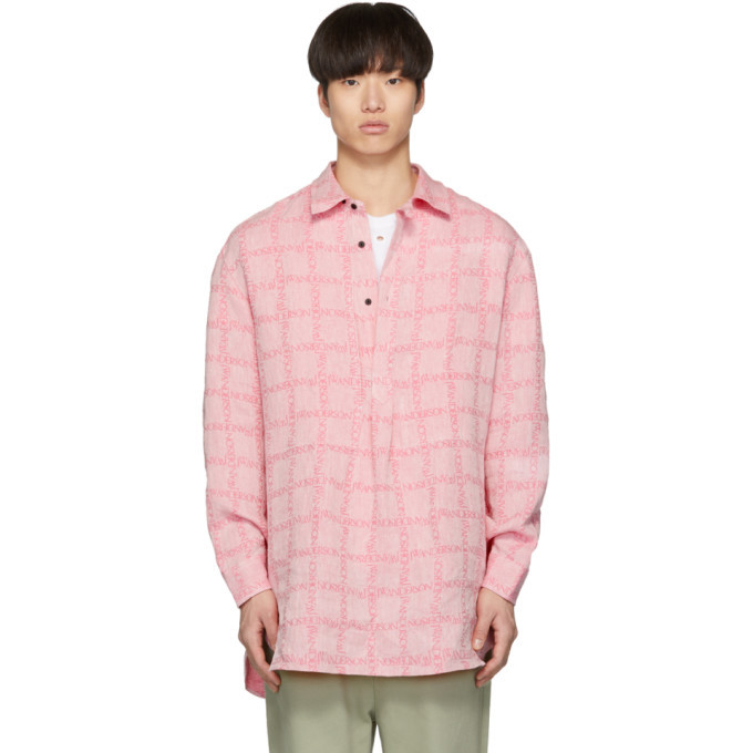 Photo: JW Anderson Pink Linen Grid Tunic Shirt
