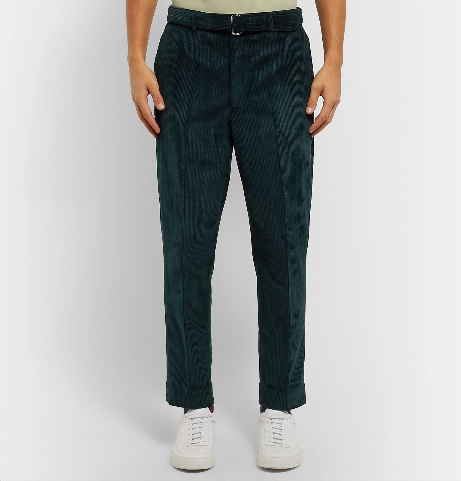 Officine Generale - Dark-Green Owen Tapered Cotton-Corduroy Suit Trousers - Green