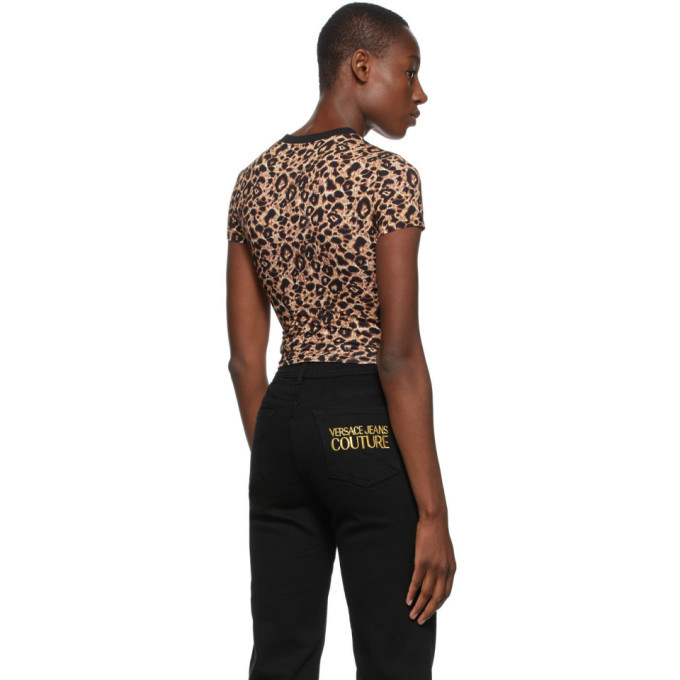 Versace Jeans Couture Beige and Black Leopard Crop T-Shirt