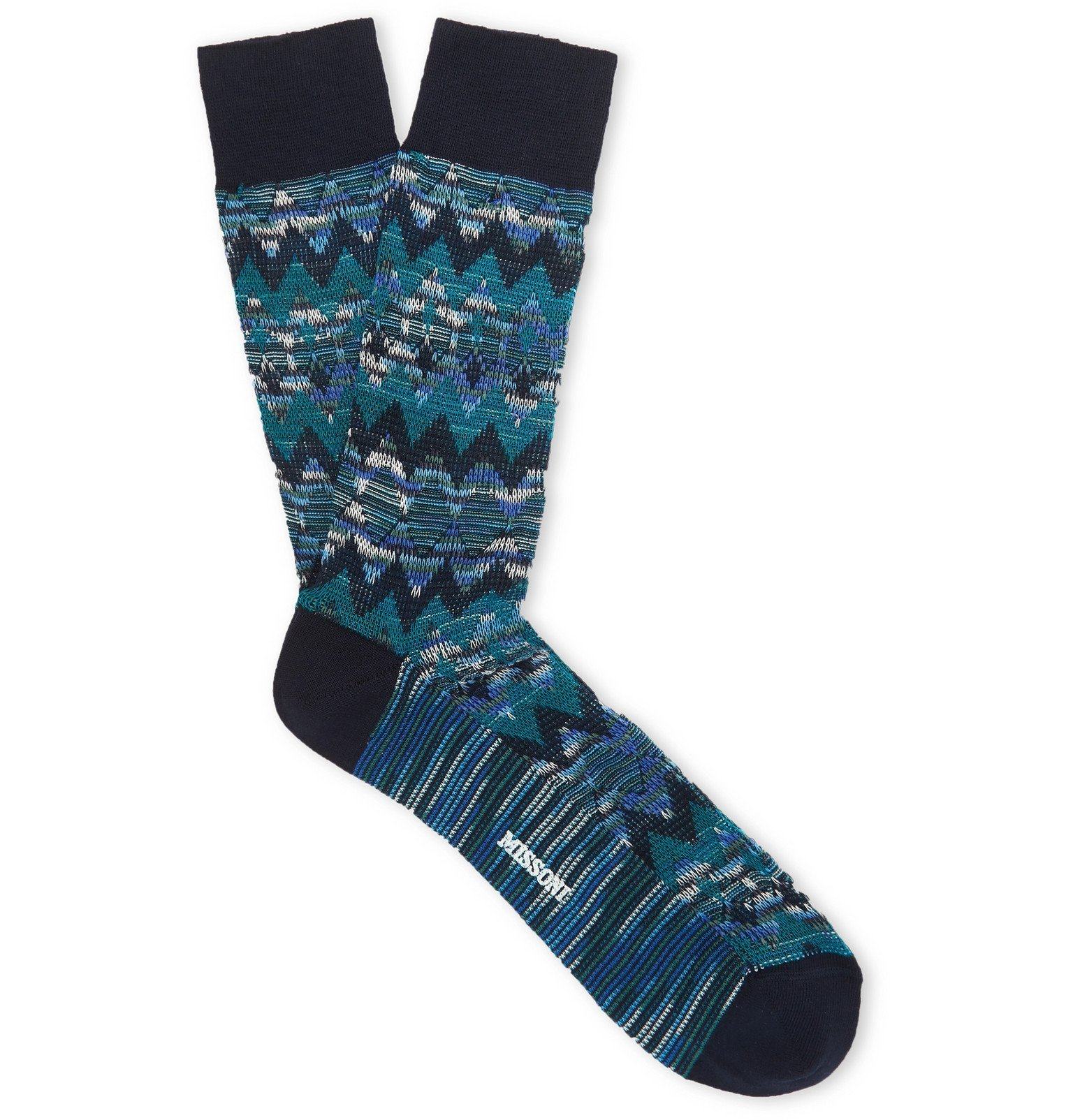 Photo: Missoni - Cotton-Blend Jacquard Socks - Blue