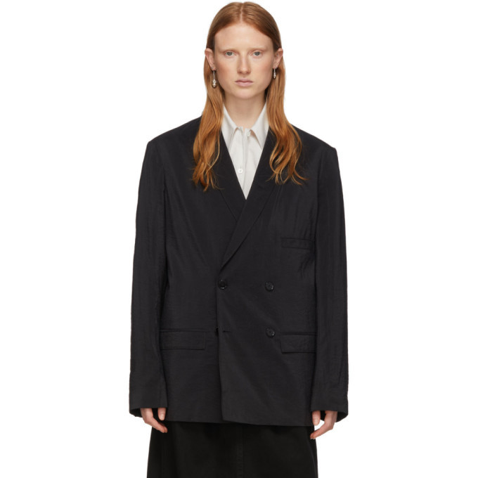 Photo: Lemaire Black Silk Double-Breasted Blazer
