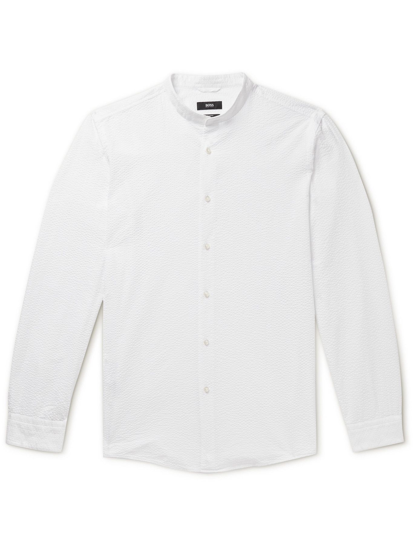 HUGO BOSS - Jordi Grandad-Collar Cotton-Seersucker Shirt - Unknown