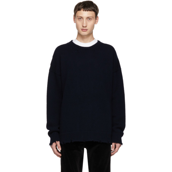 Photo: Dsquared2 Navy Fin 3 Crewneck Sweater