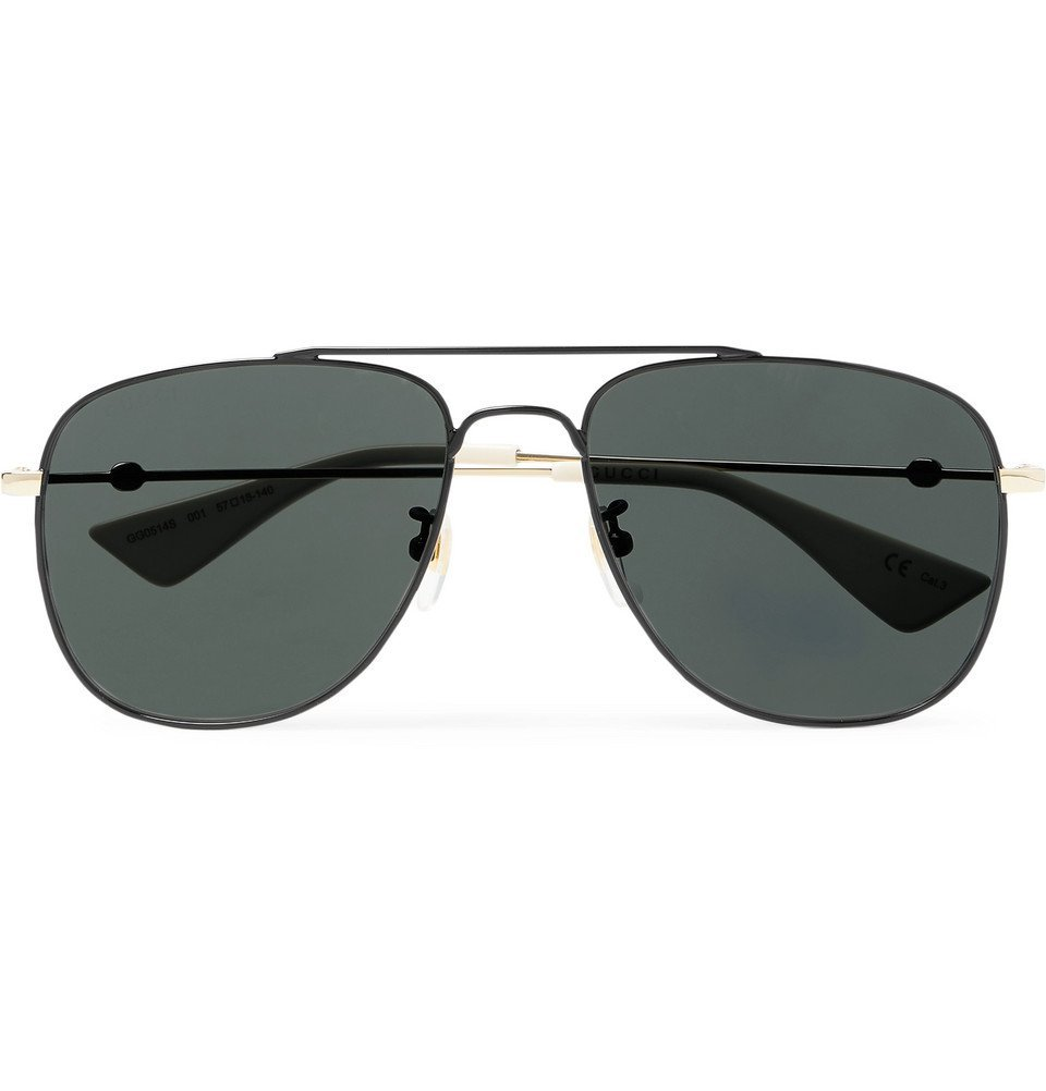 Photo: Gucci - Aviator-Style Metal Sunglasses - Black