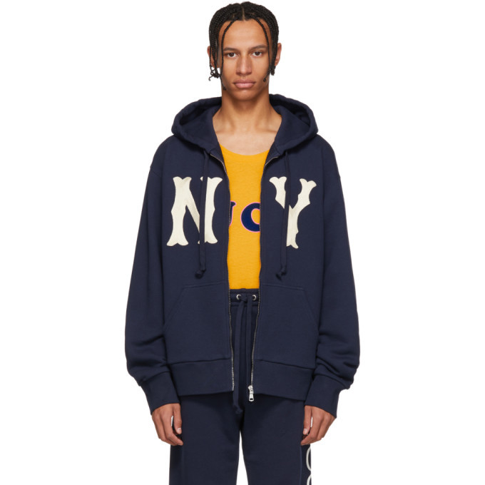 Photo: Gucci Navy NY Yankees Edition Patch Zip Hoodie