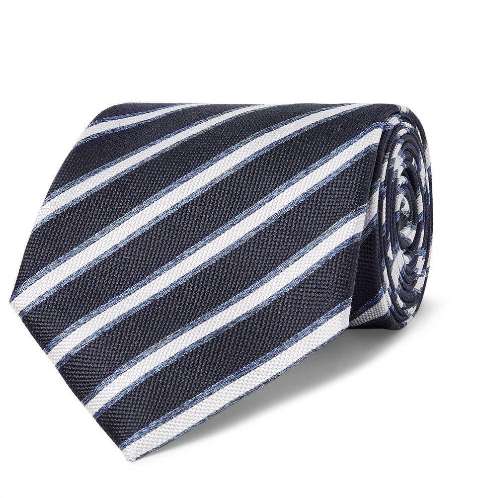 Giorgio Armani - 8cm Striped Silk-Jacquard Tie - Men - Blue