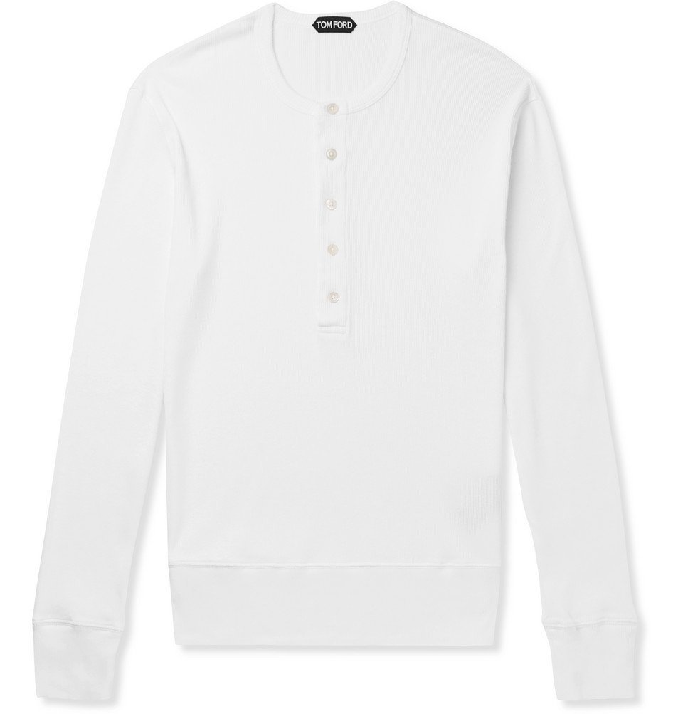 Photo: TOM FORD - Ribbed Cotton-Jersey Henley T-Shirt - White