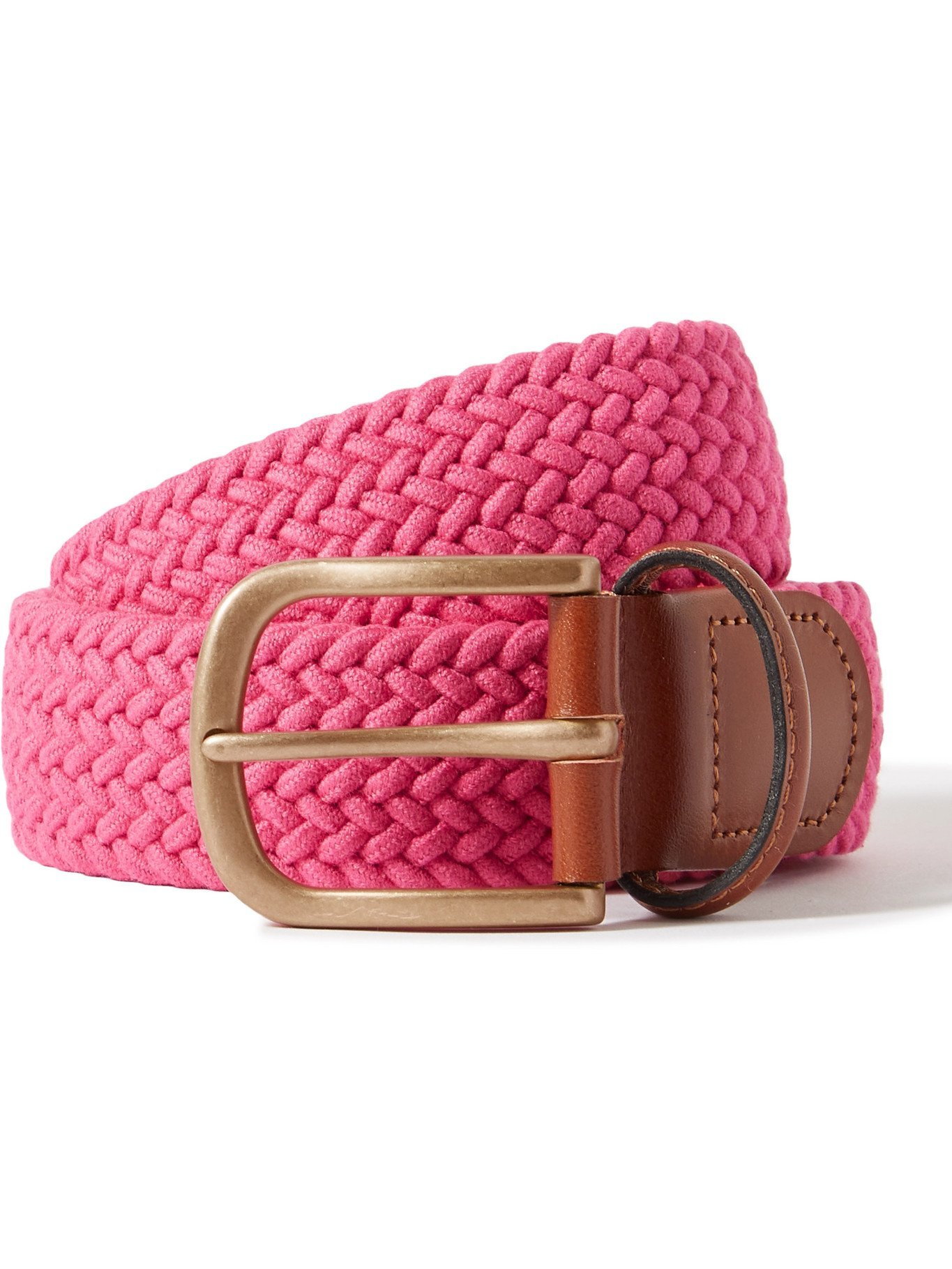 Photo: ANDERSON & SHEPPARD - 3.5cm Leather-Trimmed Woven Belt - Pink