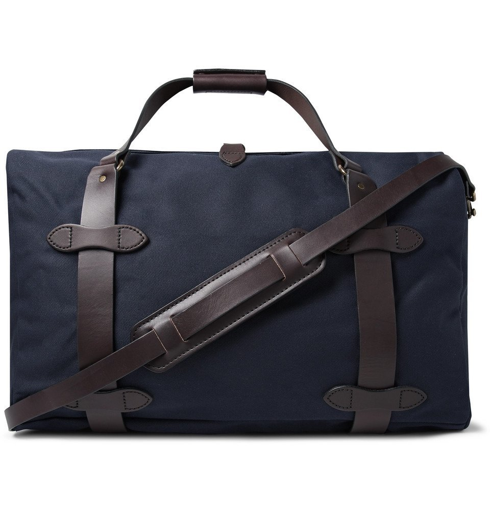 Filson - Leather-Trimmed Twill Duffle Bag - Midnight blue