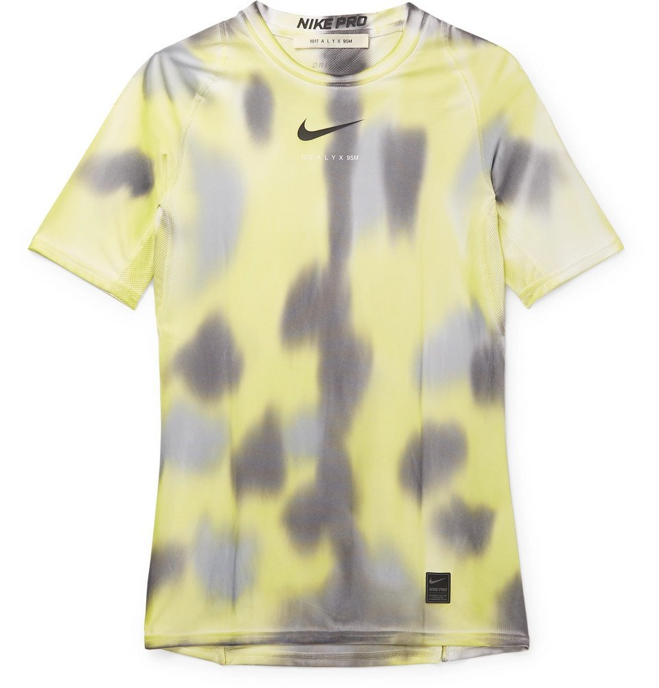 Photo: 1017 ALYX 9SM - Nike Mesh-Panelled Logo and Camouflage-Print Stretch-Jersey T-Shirt - Yellow
